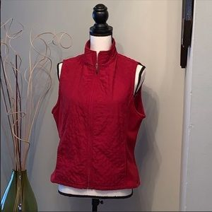 Columbia red fleece and quilted vest